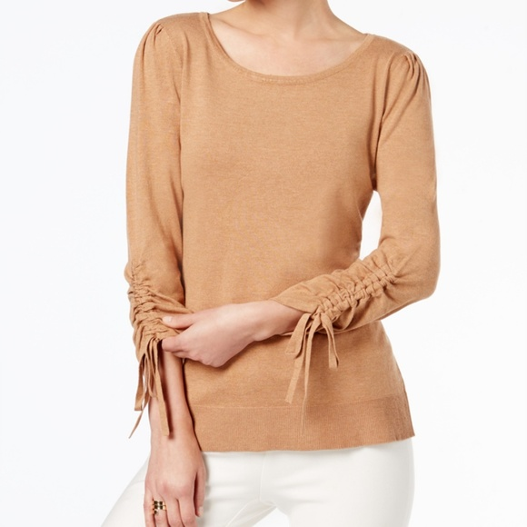 Inc International Concepts Heather Ginger Drawstring-sleeve Crew Neck Sweater M Sweaters Women's Clothing